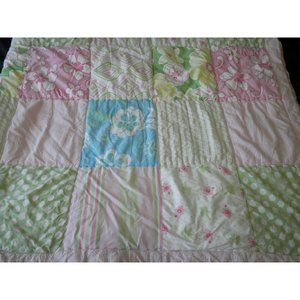 Pottery Barn Kids Twin Patchwork Quilt Pink White